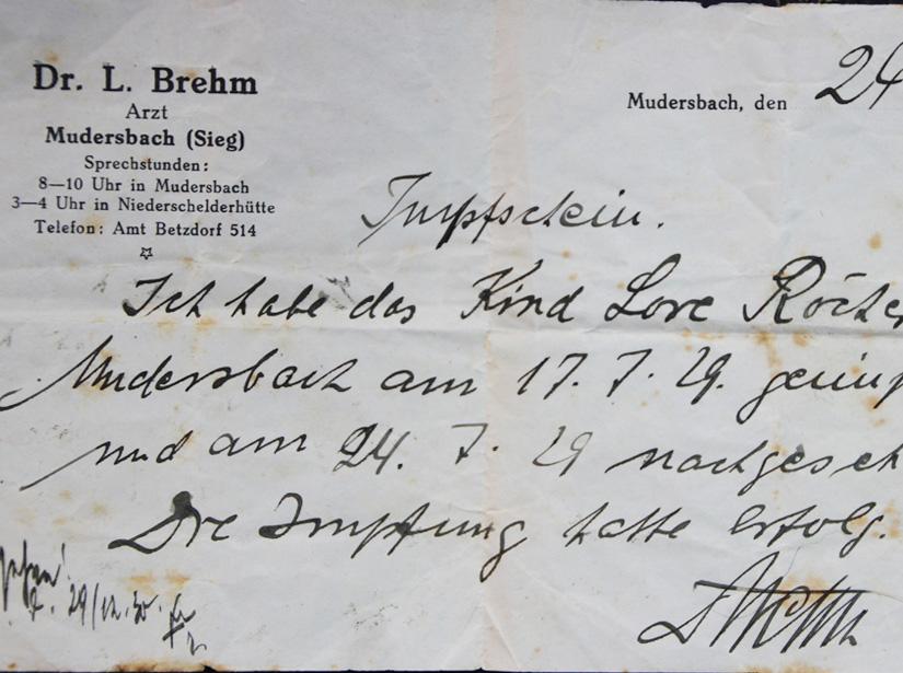 Originalimpfschein 24.07.1929