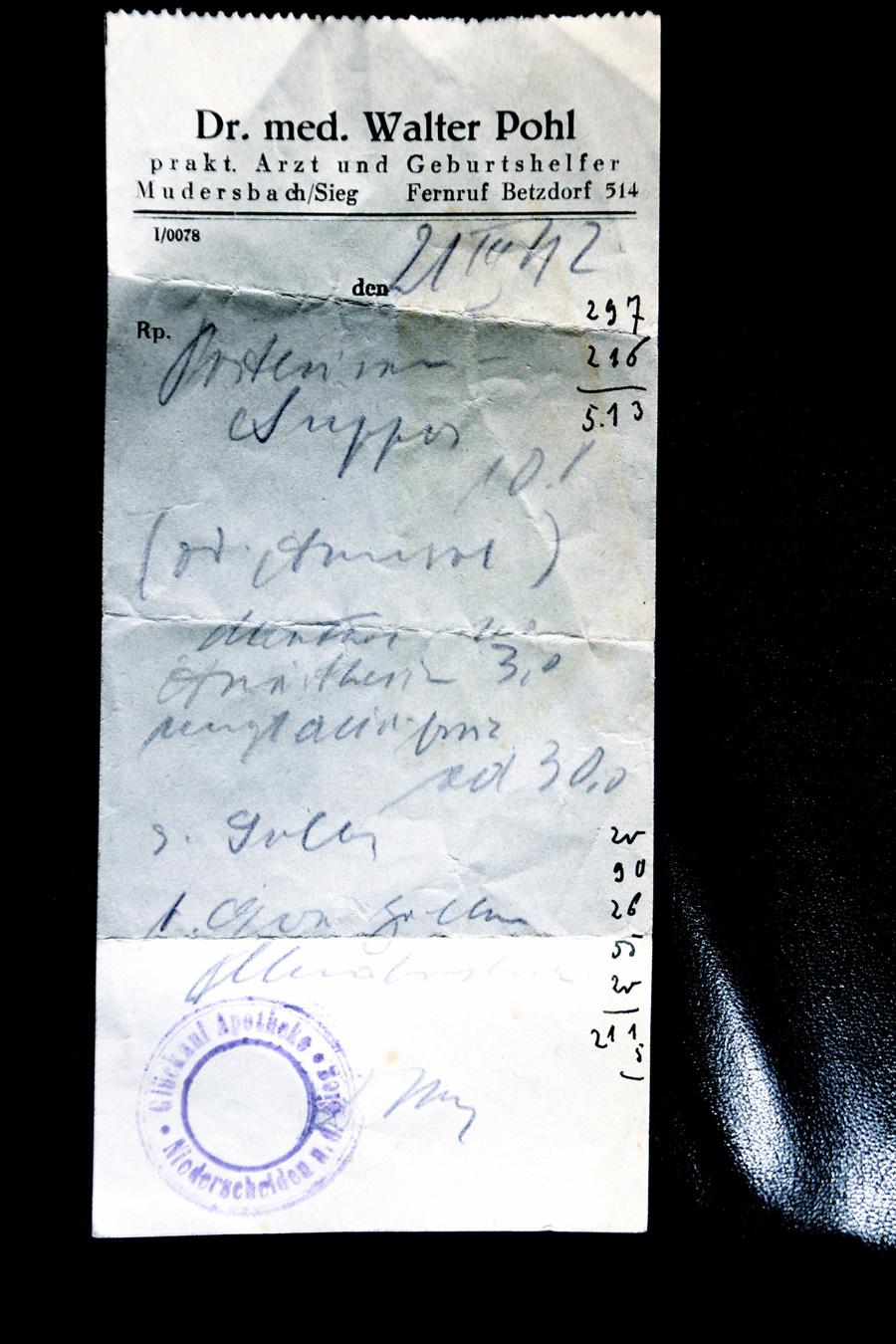 Rezept ausgestellt 1942